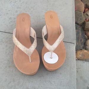New UGG Natassia wedge gold sandals size 12